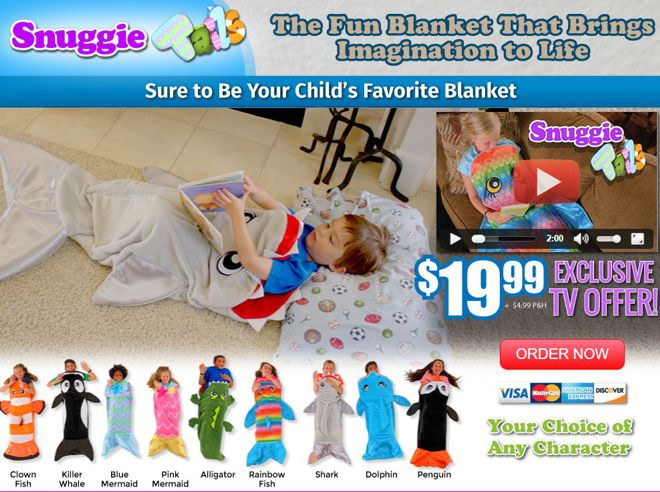 Snuggie tails review fleece character blanket freakin for Snuggie tails clown fish