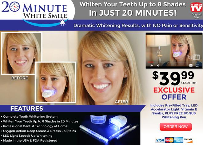 20 Minute White Smile Review Led Teeth Whitening Kit Freakin